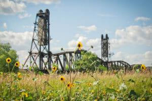The Snowden Lift Bridge across the Missouri River.