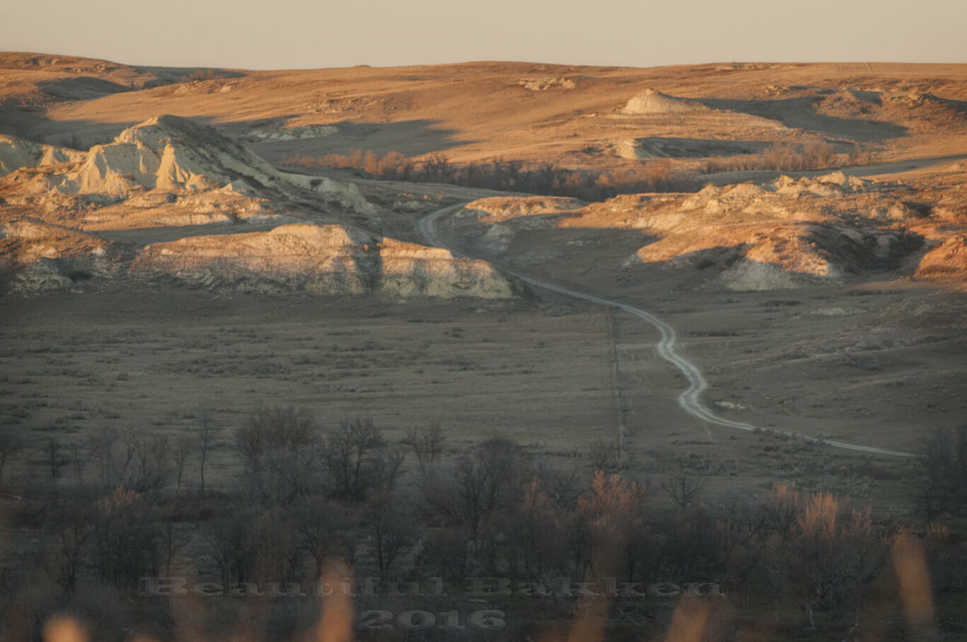 To the north, the rancher's access road snakes through the hills.