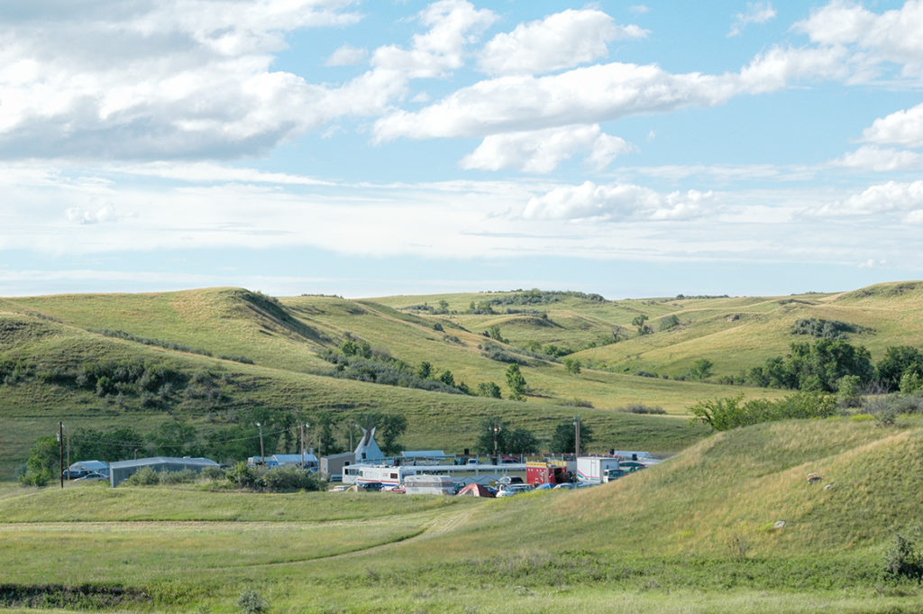 The Twin Buttes Powwow Ground is nestled in the hills a few hundred yards from Lake Sakakawea.