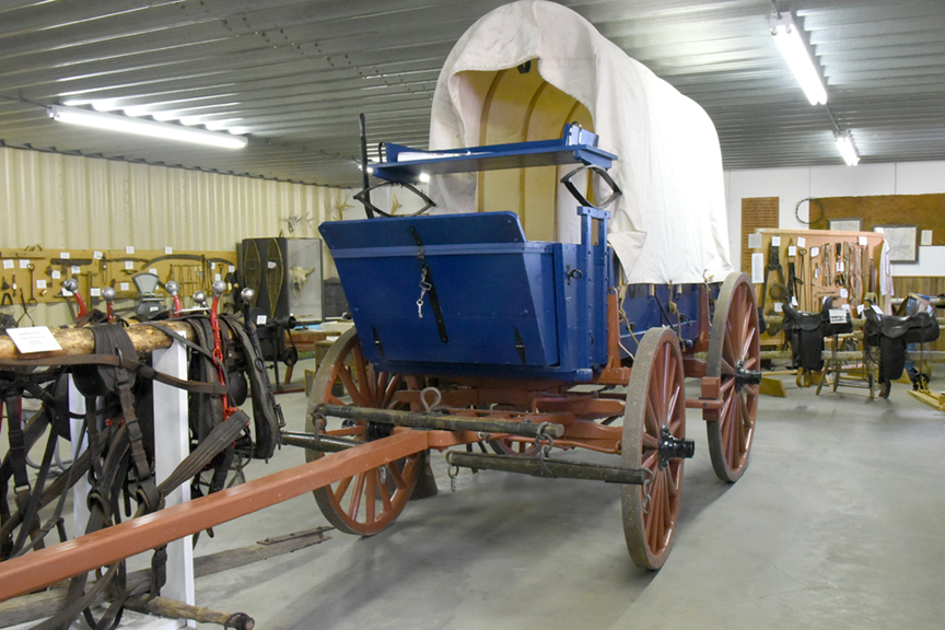 A U.S. Army Cavalry Wagon is on display at the Dunn County Museum in Dunn Center