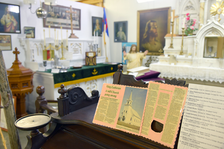 The Vang Lutheran Church memorabilia on display at the Dunn County Museum