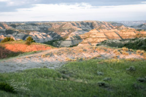 North Unit of Theodore Roosevelt National Park at Sunset.