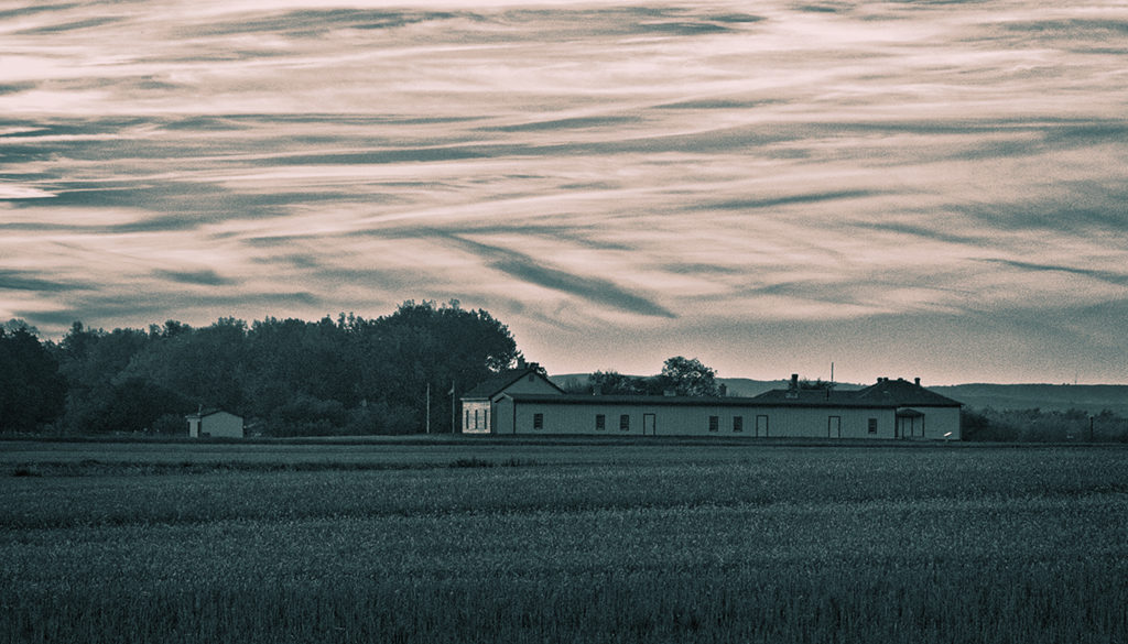Fort Buford at sunset monotone