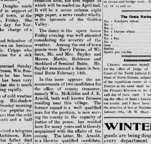 The Golden Valley Chronicle covered dances as news stories in 1908