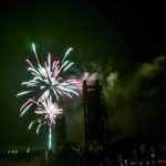 Fireworks illuminate the Fairview Lift Bridge