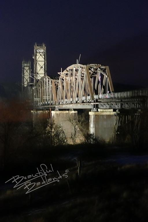 The Fairview Liftbridge lit up with spotlights.