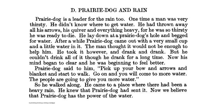 A passage about a Native American story about prairie dogs