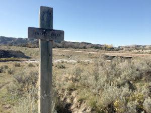 Bennett Creek Trail sign marks the route toward the Little Missouri River