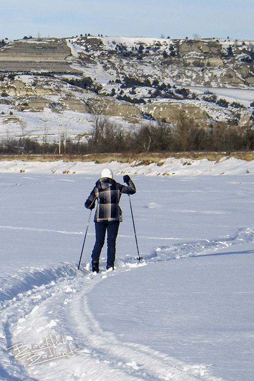 Cross Country Skiing on a snowmobile track in the North Dakota Badlands