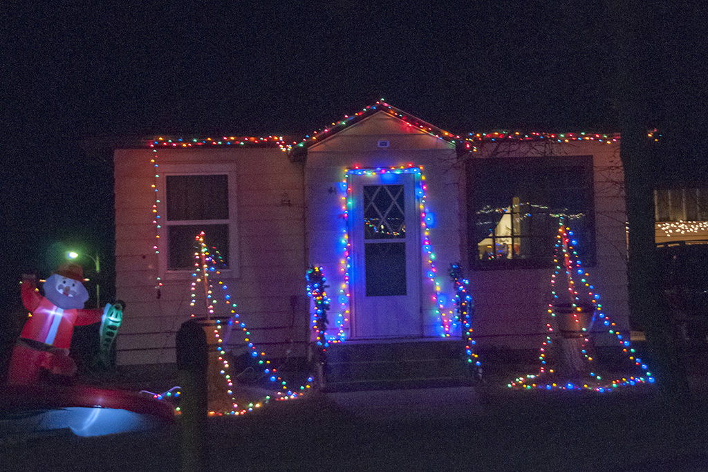 A home in Dunn Center displays Christmas lights.