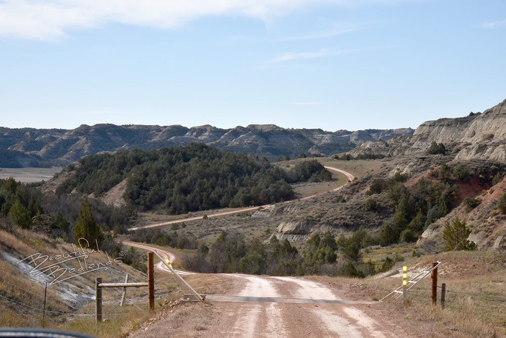 gravel road and cattle guard down the hill to the North Dakota Badlands