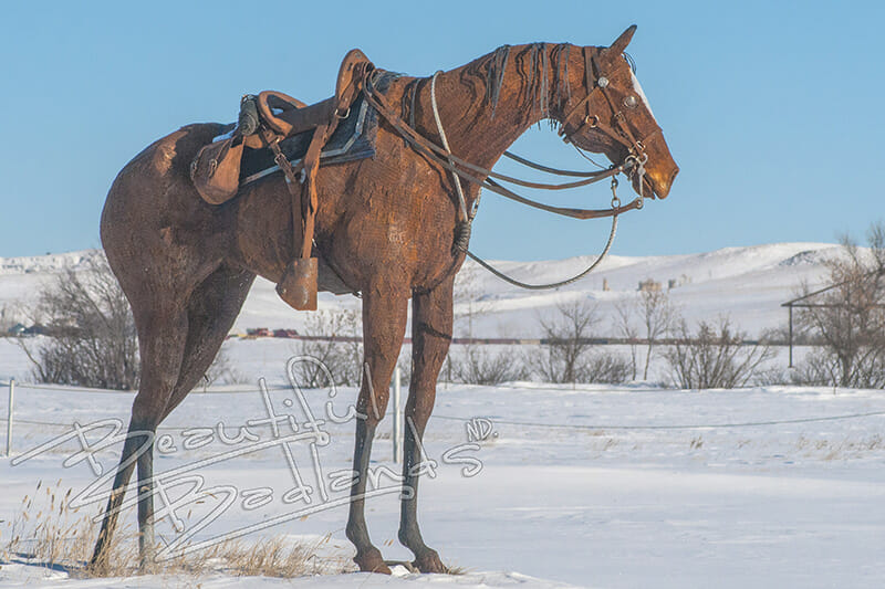 Masonic Metal Horse sculpture at Fort Buford