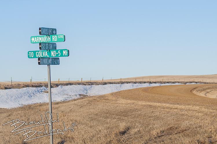 Marmarth street signs oh Highway 16