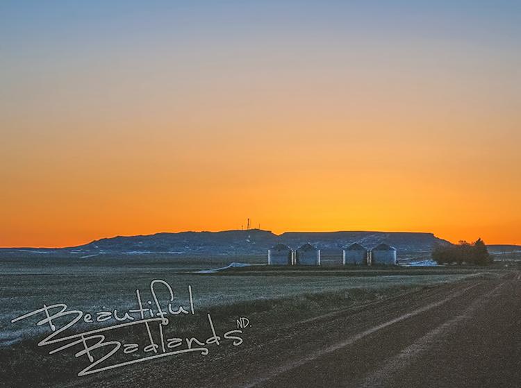 North Dakota Highway 16 sentinel Butte sunrise