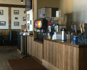 Plenty of drink and condiment choices at American Smoke Wagon BBQ,