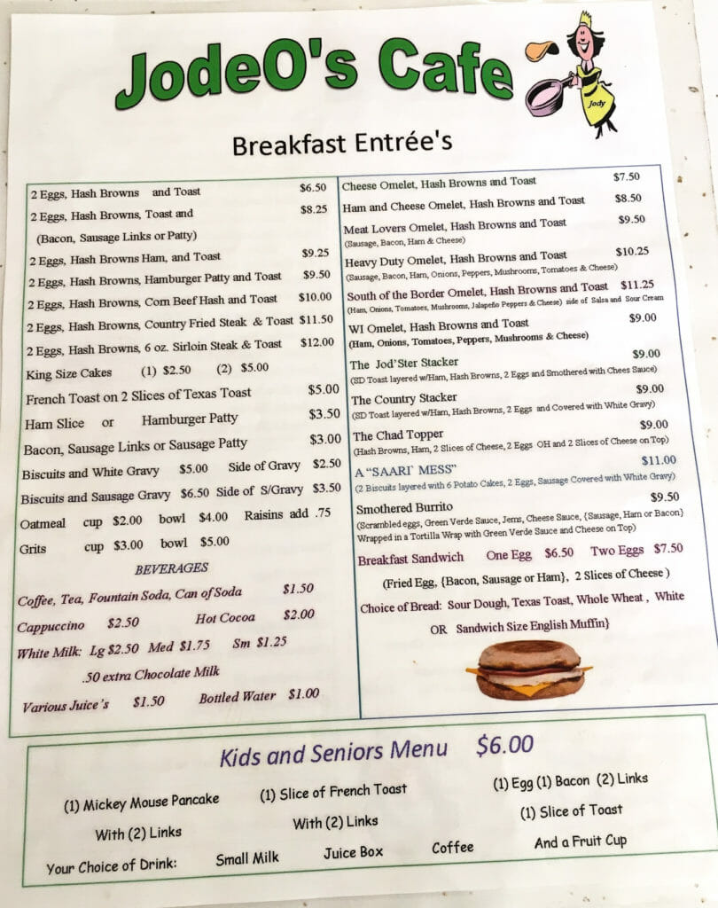 Take your time looking through the menu at Jodeo's Cafe in Halliday.