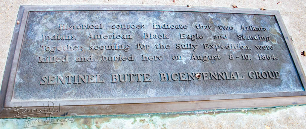 sentinel butte marker for American Black Eagle and Standing Alone
