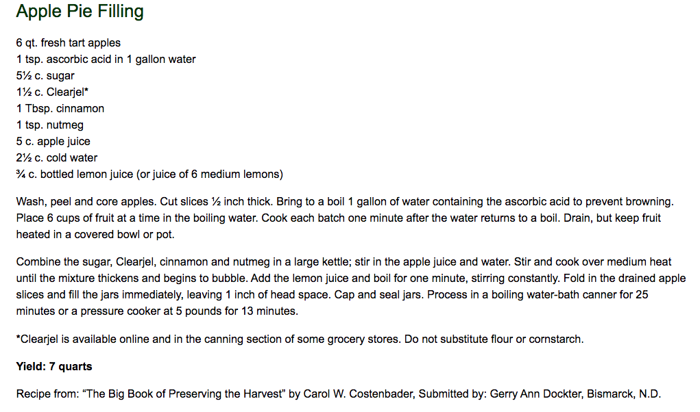 Apple Pie Filling recipe from The Windbreak Cookbook, NDSU Extension Service.
