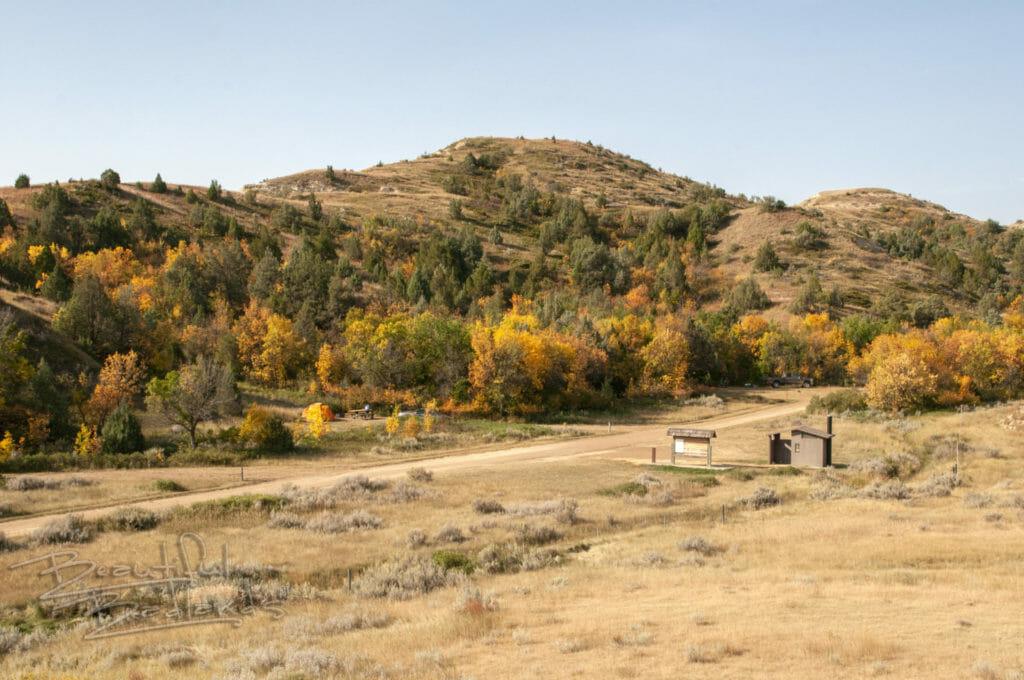 Elkhorn Campsite in the middle of the North Dakota Badlands.