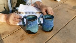 Prairie Fire Pottery coffee mugs are our favorite for sipping when we camp in the badlands.