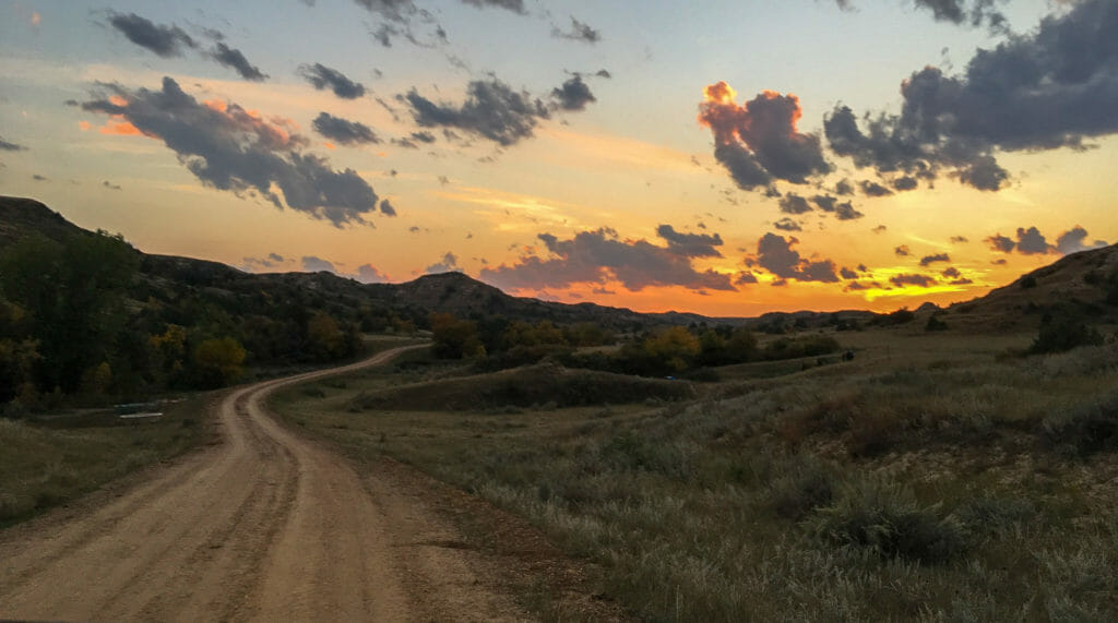 Deepening colors change the landscape ahead as we drive to Theodore Roosevelt's Elkhorn Ranch