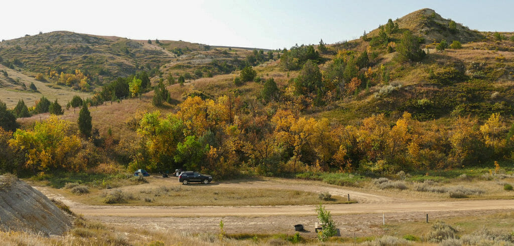 A shaded camping spot at Elkhorn Campground, not far from Theodore Roosevelt's Elkhorn Ranch in western North Dakota.