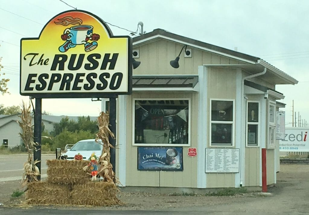 The Rush Espresso drive-up is on Highway 200 on the south side of Sidney, Montana.
