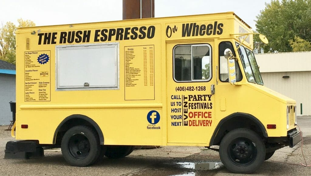 The bright yellow The Rush Espresso truck brings great coffee to you!