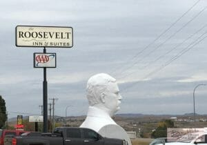 Look for Teddy Roosevelt.   Nearby, you'll find Metanoia Restaurant.