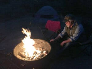 campfire hot dogs in the Elkhorn Campsite in the North Dakota Badlands