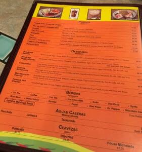 There are many menu choices at Los Compadres Mexican Restaurant in Williston, North Dakota