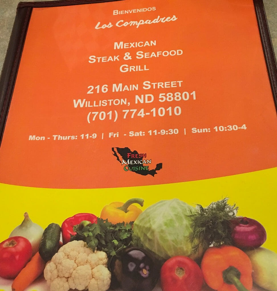 Los Compadres boasts a large, substantial menu, brightly colored.
