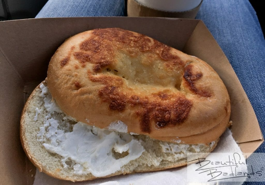 Bagels at Cowboy Coffee in Killdeer, North Dakota are big, tasty, and satisfying!