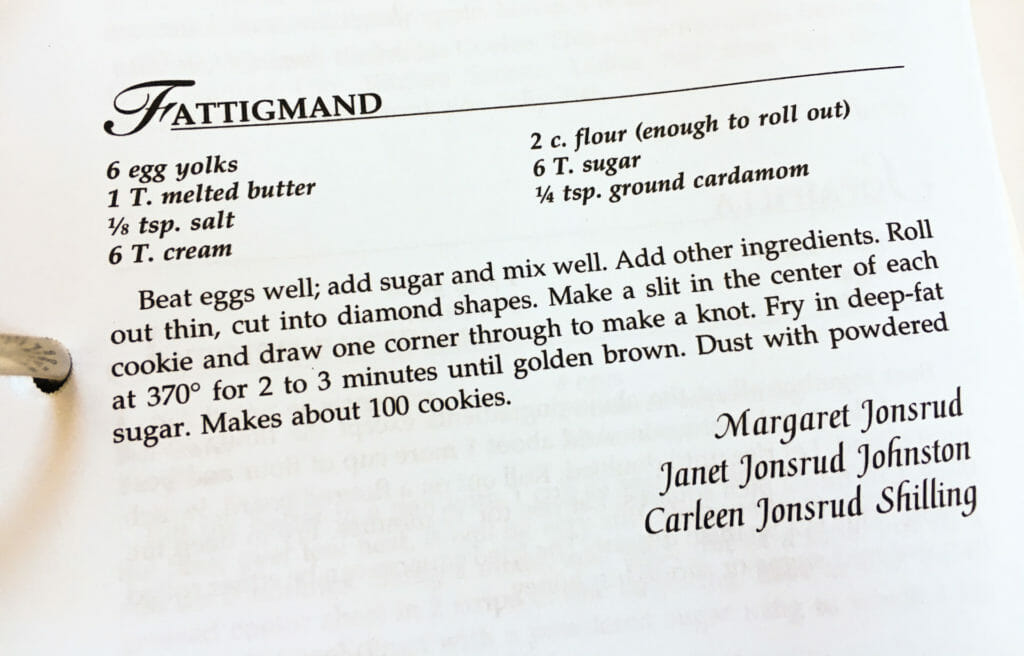 Fattigmand Recipe from the Watford City Centennial Cookbook