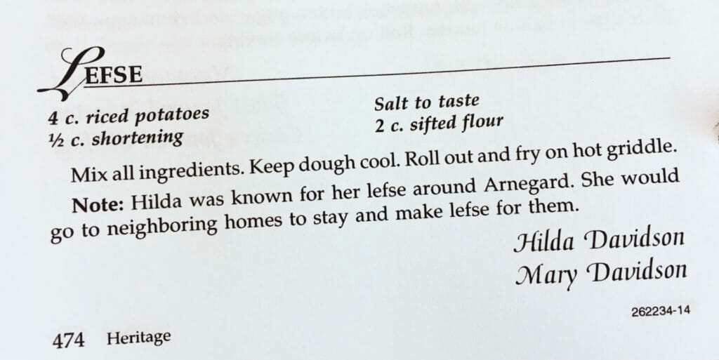 Lefse Recipe from the Watford City Centennial Cookbook