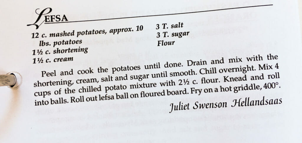 Leafsa Recipe from the Watford City Centennial Cookbook