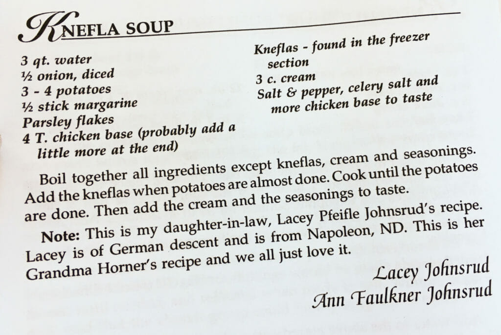 Knefla Soup Recipe, Watford City Centennial Cookbook