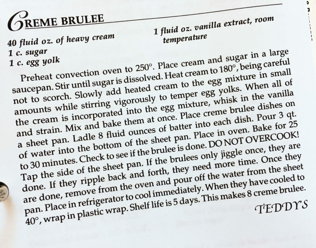 Creme Brûlée Recipe, Watford City Centennial Cookbook