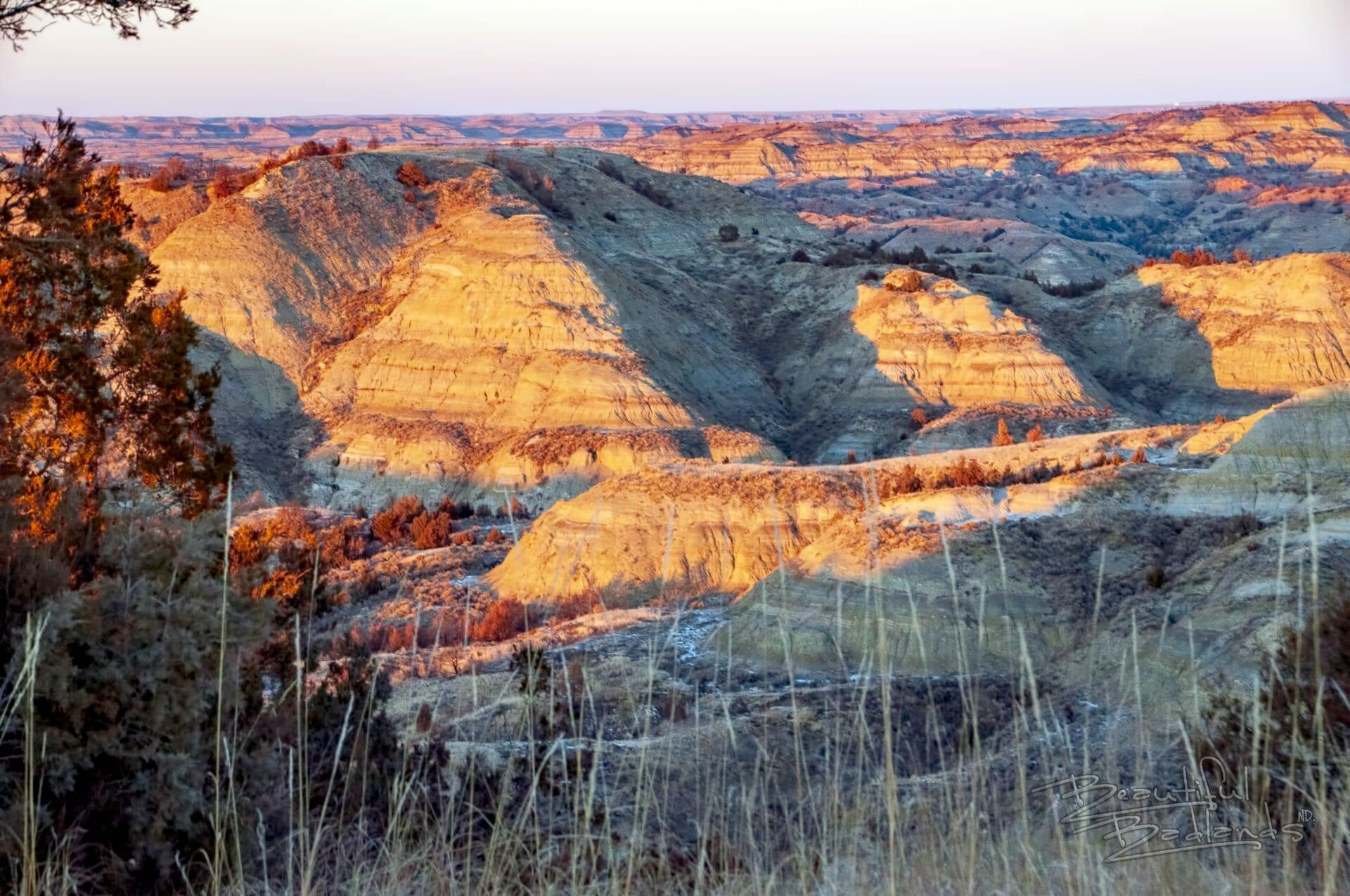 Badlands landscape golden hour