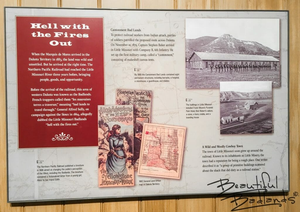 Hell with the Fires Out, Descriptive Information Board about the Badlands, Chateau de Mores Interpretive Center, Medora