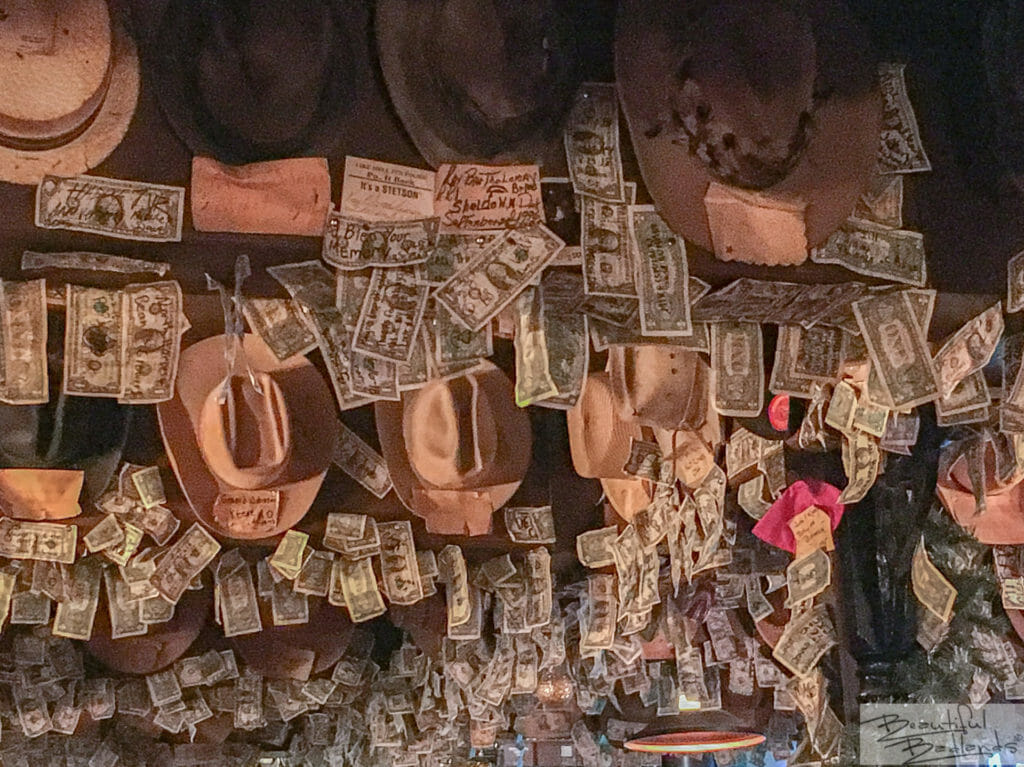Cowboy Hats and Dollar Bills, Little Missouri Saloon & Dining, Medora, North Dakota