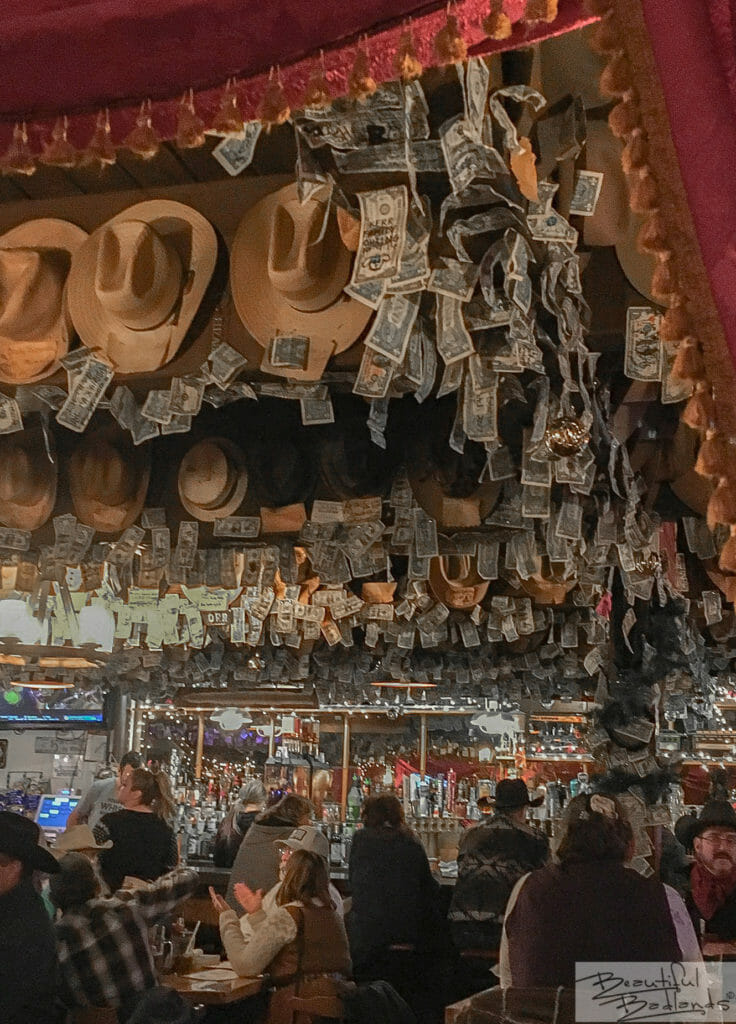 Cowboy Hats and Dollar Bills. And Happy People! Little Missouri Saloon & Dining, Medora, North Dakota