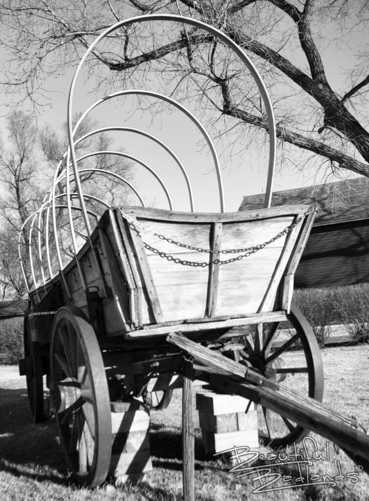 Medora covered wagon uncovered