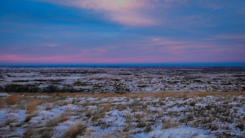 Venus Belt in the Winter from Square Butte, North Dakota Badlands