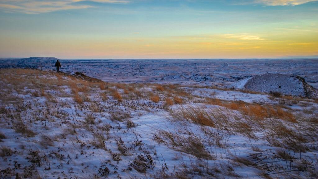 Getting Darker and Colder on Square Butte, North Dakota Badlands