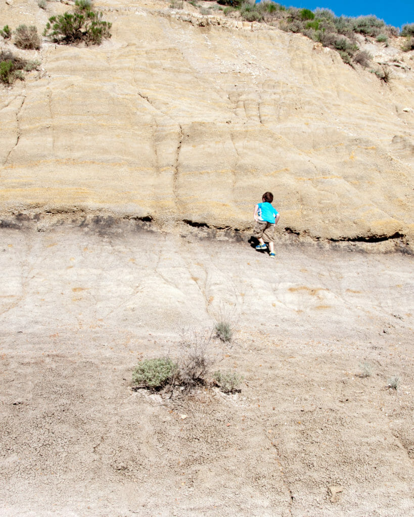 climbing a badlands hill