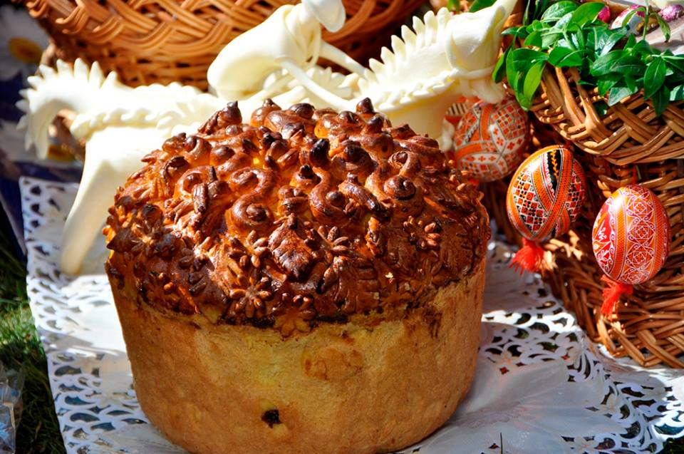 Traditional Easter Bread of Ukraine is Panska which is part of the Easter Basket presented on Easter Sunday