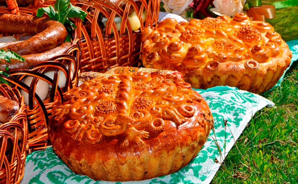 Paska, Ukrainian Easter Bread is a part of the Easter Basket of food traditionally blessed and consumed on Easter Sunday.