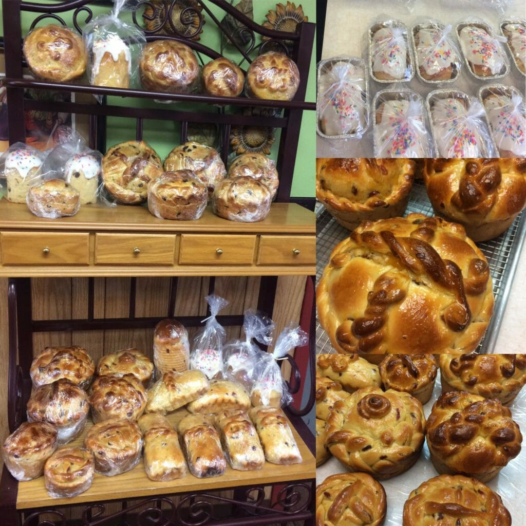A wide assortment of Panska, Ukrainian Easter Bread, baked by Four Corners cafe & Catering, Fairfield,North Dakota.