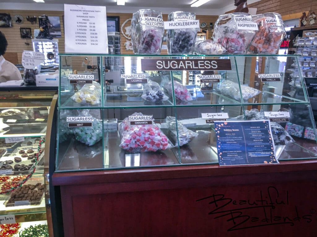Extensive Sugar Free Taffy Selection, Rushmore Mountain Taffy, Medora, North Dakota